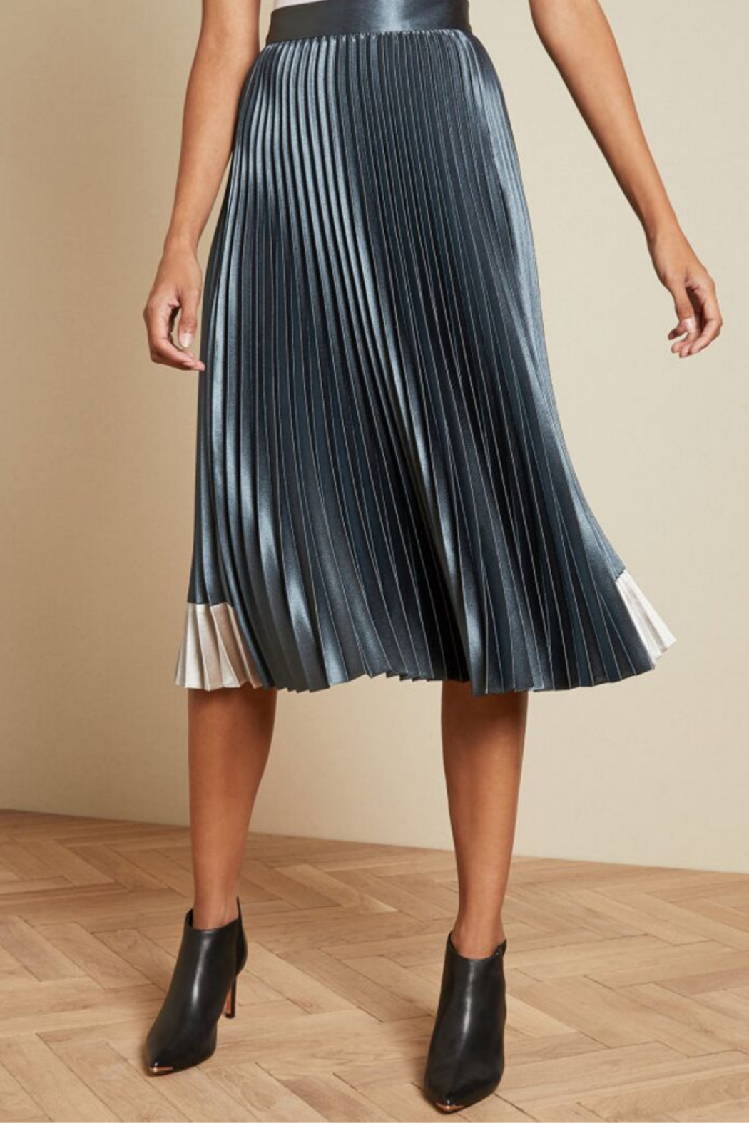 Ted Baker Pleated Midi Skirt - Front Cropped Image