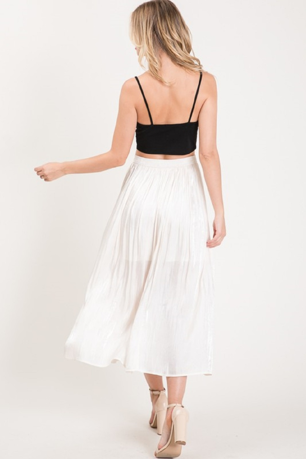 Allie Rose Pleated Midi Skirt - Side Cropped Image