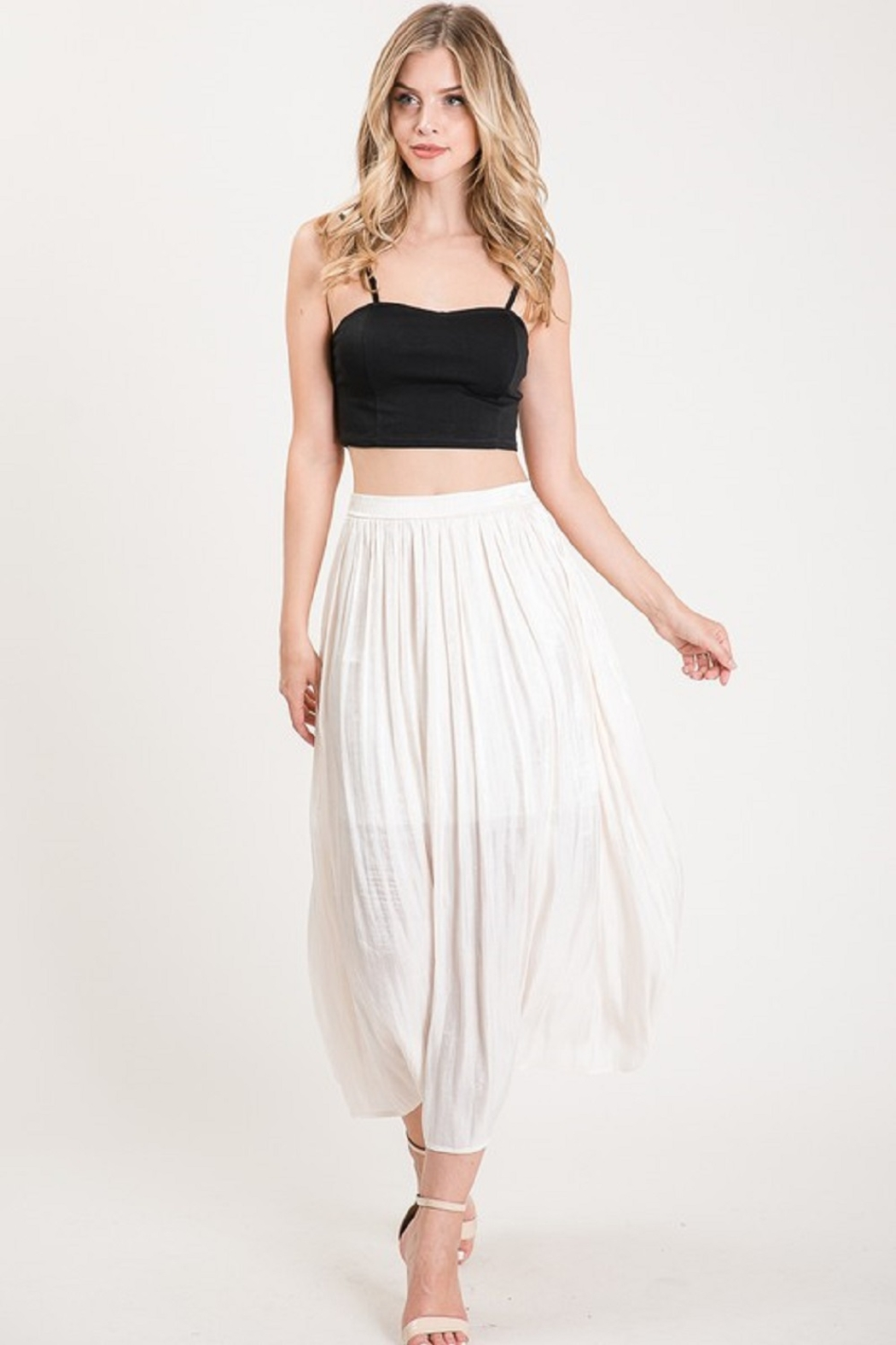 Allie Rose Pleated Midi Skirt - Front Full Image