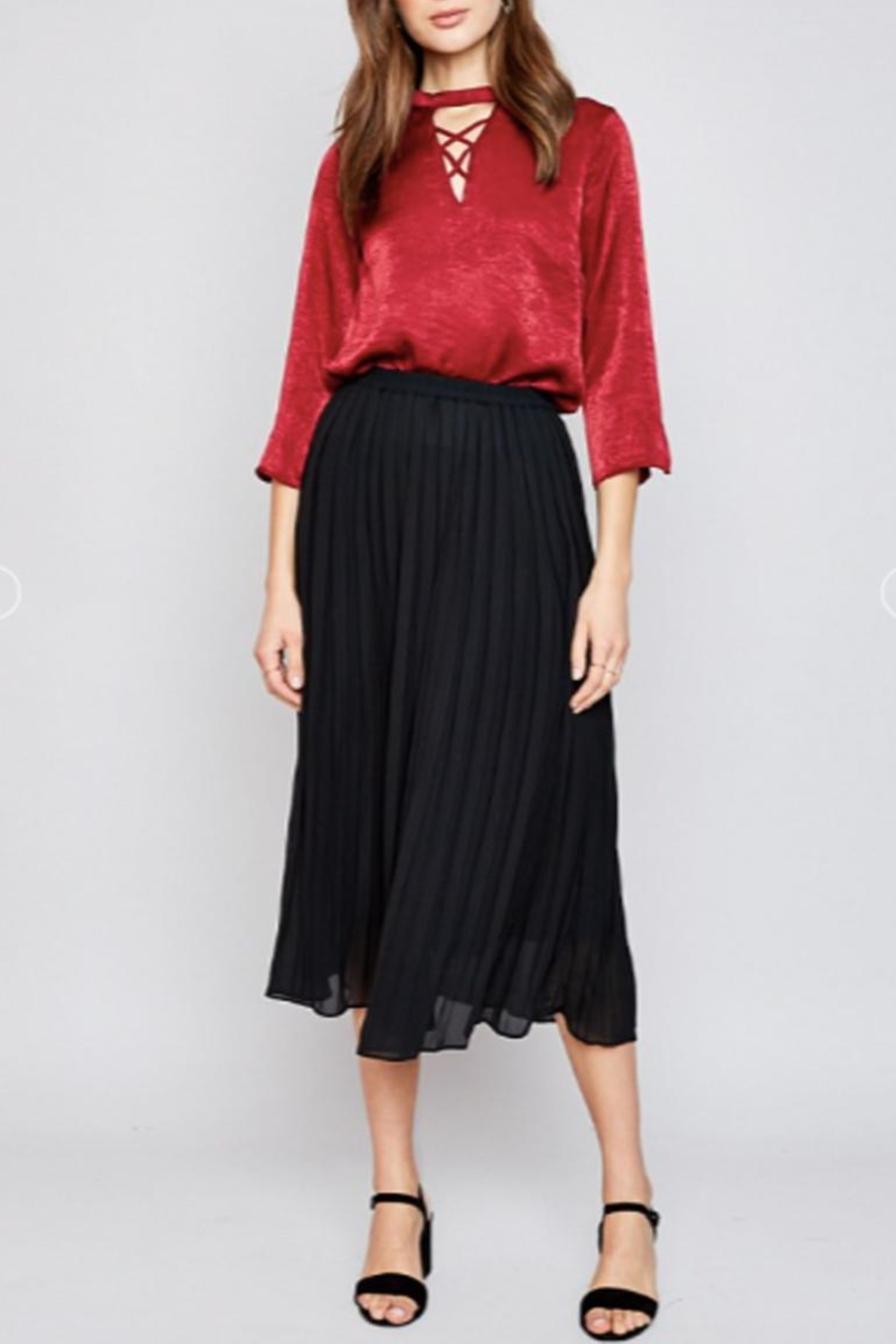Hayden Los Angeles Pleated Midi-Skirt, Black - Front Cropped Image