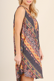 Umgee USA Pleated multi-print dress - Front full body