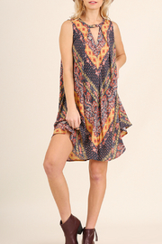 Umgee USA Pleated multi-print dress - Front cropped