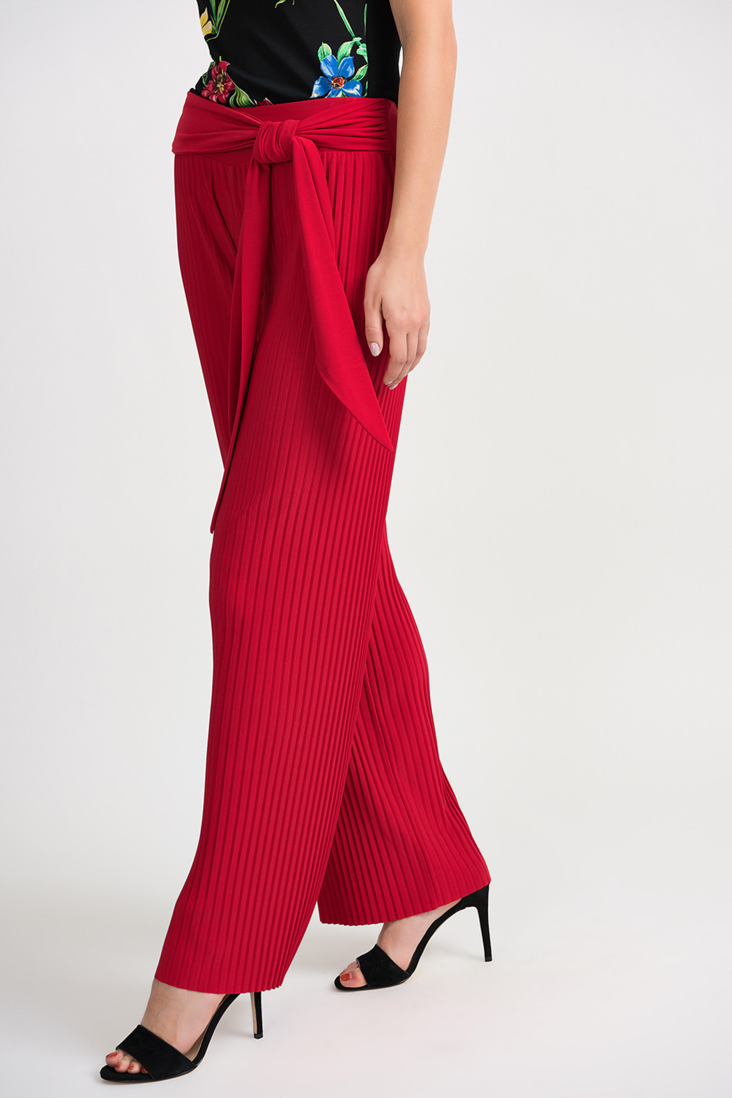 Joseph Ribkoff Pleated Palazzo Pant, Lipstick Red - Main Image