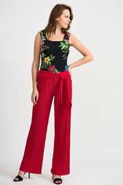 Joseph Ribkoff Pleated Palazzo Pant, Lipstick Red - Back cropped
