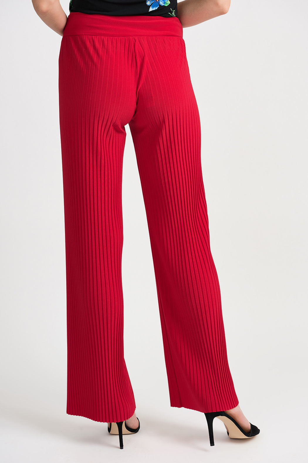 Joseph Ribkoff Pleated Palazzo Pant, Lipstick Red - Side Cropped Image