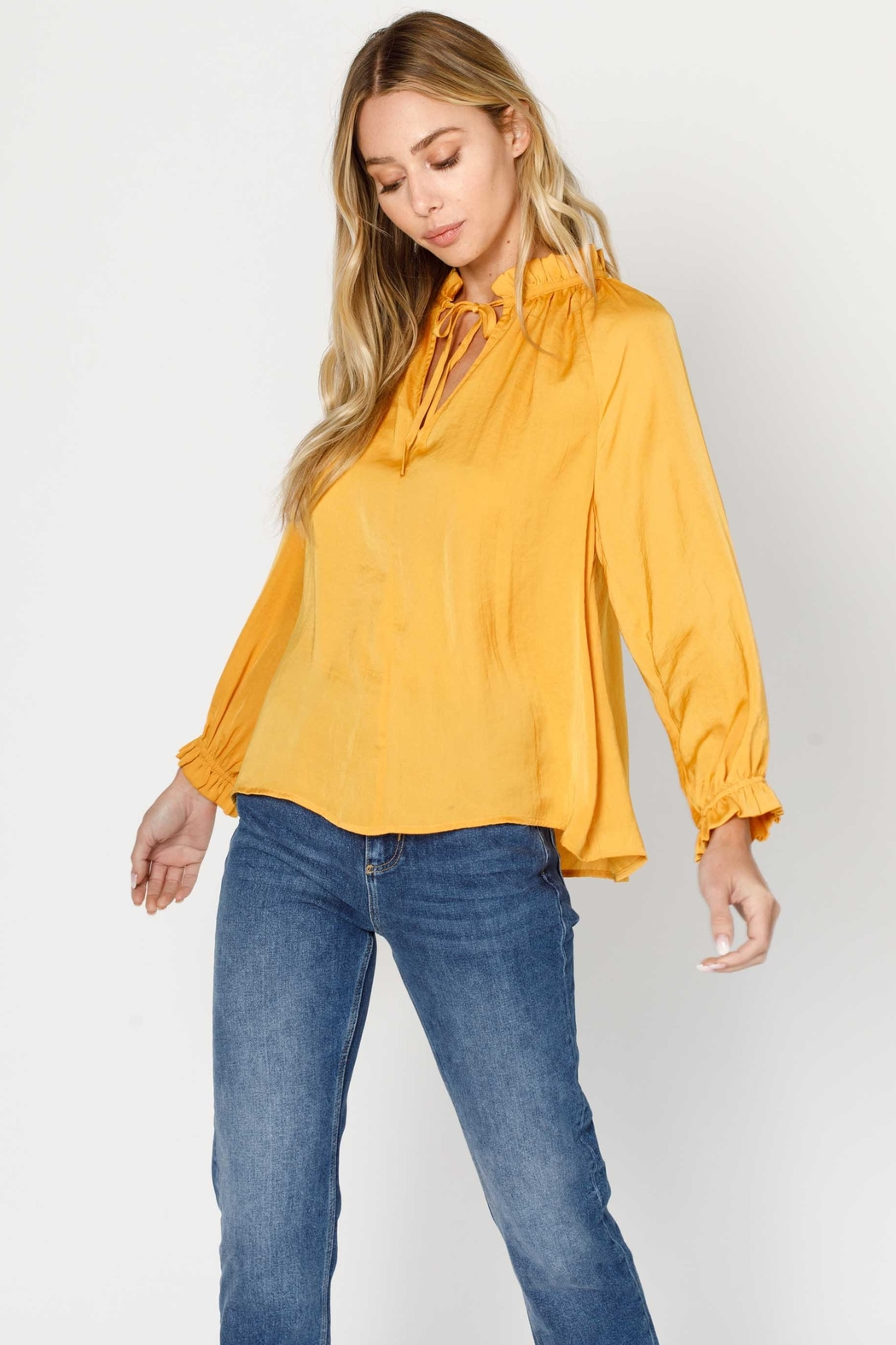 Moodie Pleated Peasant Blouse - Front Cropped Image