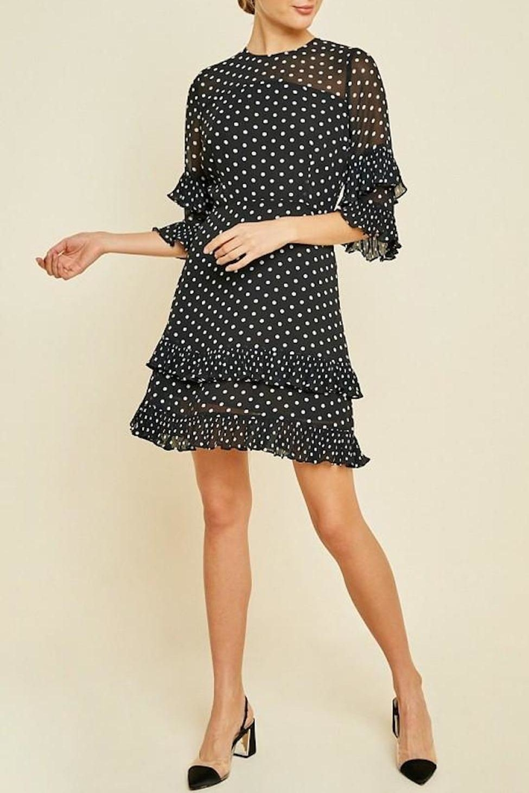 Hayden Los Angeles Pleated Polka-Dot Ruffle-Shift-Dress - Front Full Image