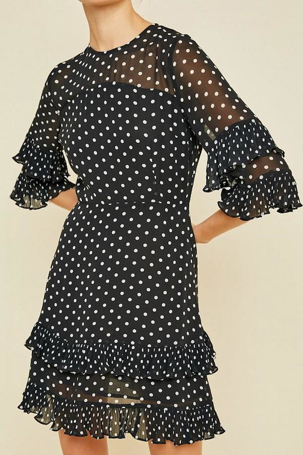 Hayden Los Angeles Pleated Polka-Dot Ruffle-Shift-Dress - Back Cropped Image