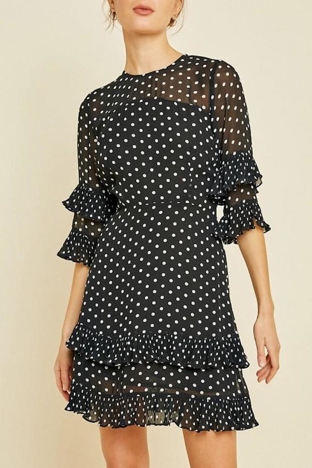 Hayden Los Angeles Pleated Polka-Dot Ruffle-Shift-Dress - Main Image