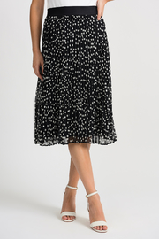 Joseph Ribkoff Pleated Polka Dot Skirt, Black/Vanilla - Product Mini Image