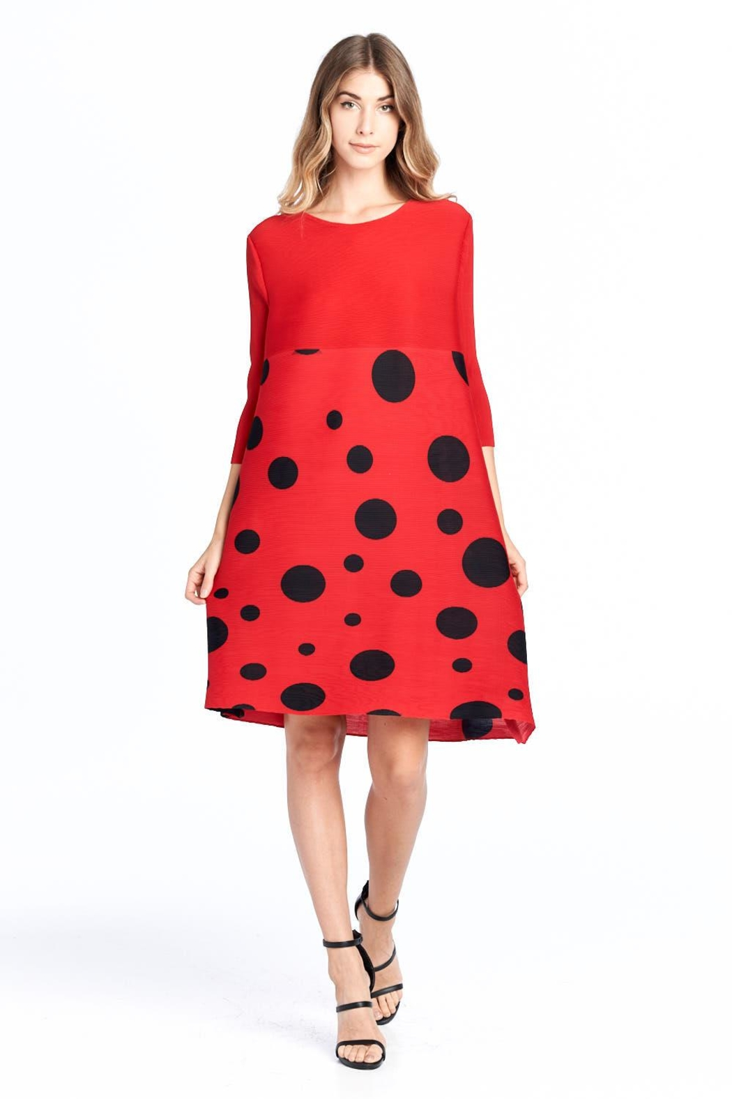 Nabisplace Pleated Polkadots Dress - Front Cropped Image
