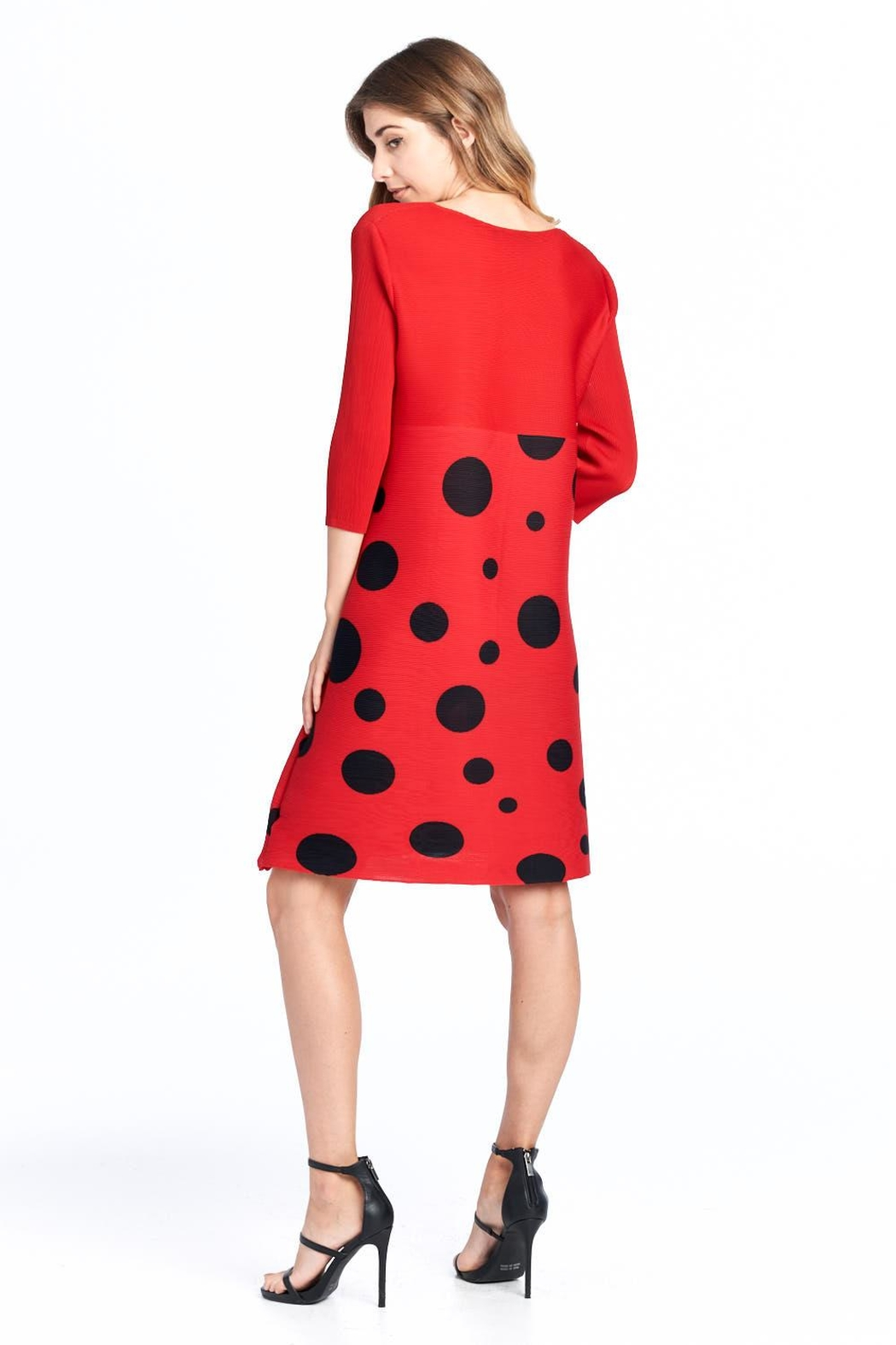 Nabisplace Pleated Polkadots Dress - Side Cropped Image
