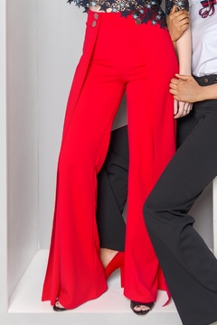 MODChic Couture Pleated Red Trousers - Alternate List Image