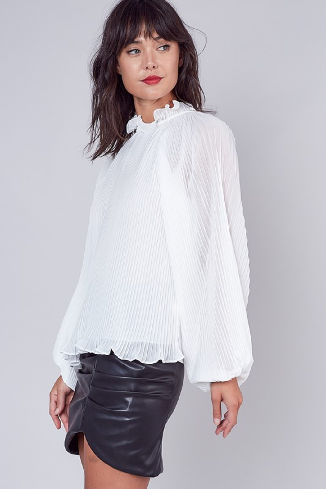 Do + Be  Pleated Ruffle Blouse - Front Cropped Image