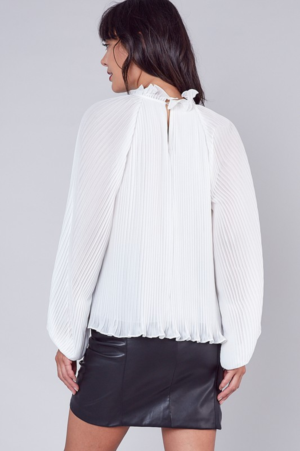 Do + Be  Pleated Ruffle Blouse - Front Full Image