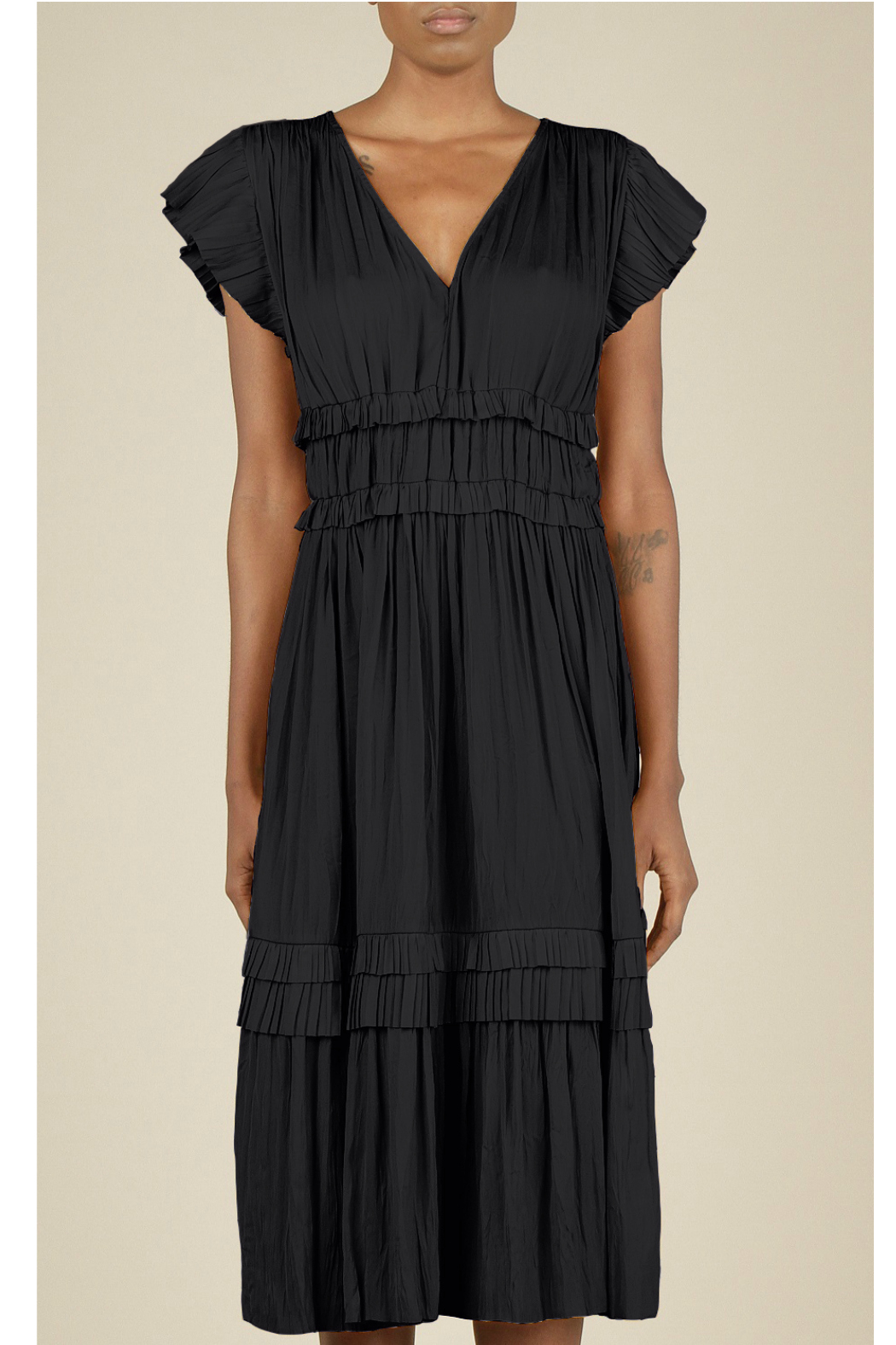 Current Air Pleated ruffle dress - Front Cropped Image