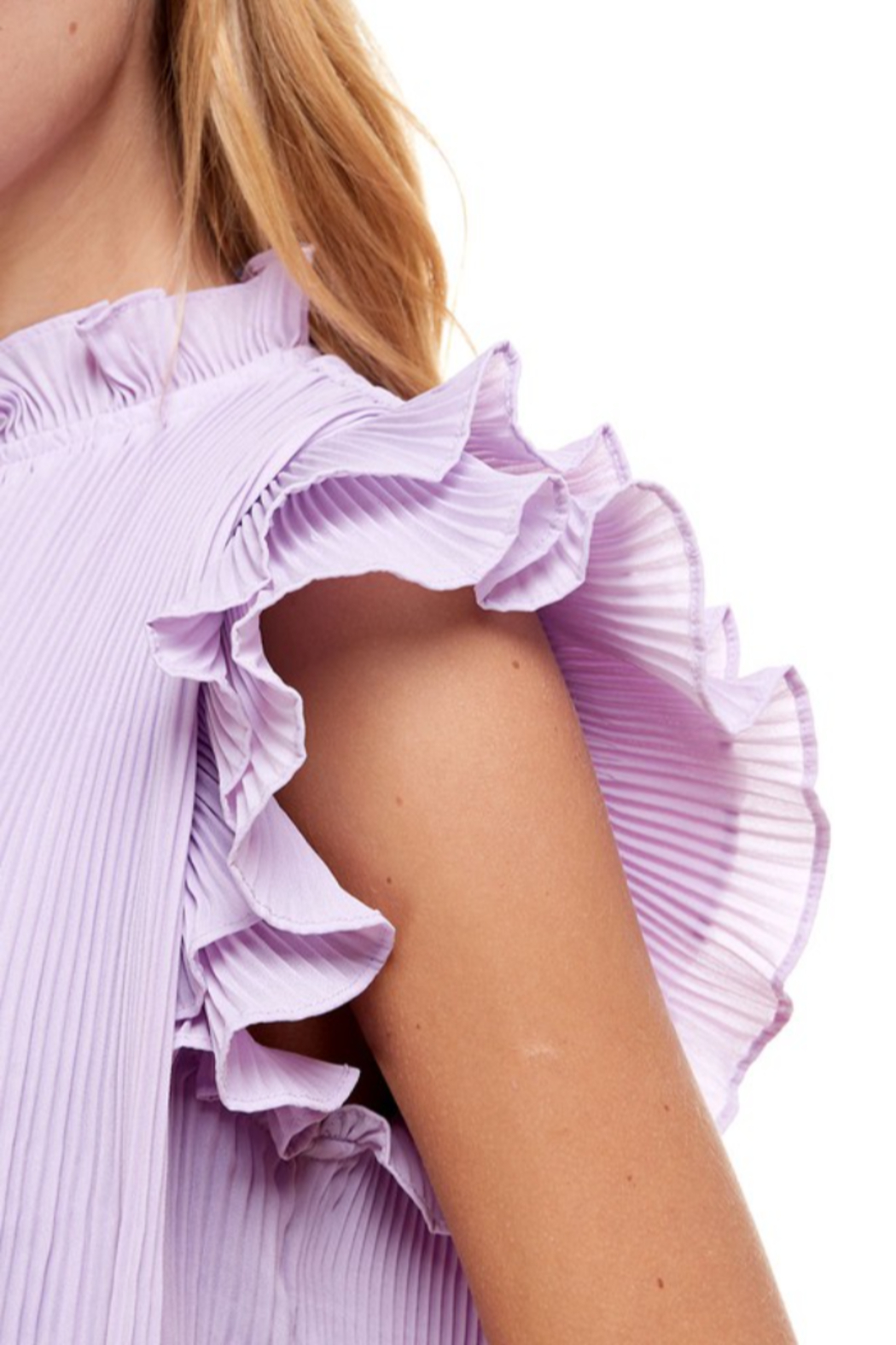 TCEC Pleated Ruffle Top - Back Cropped Image