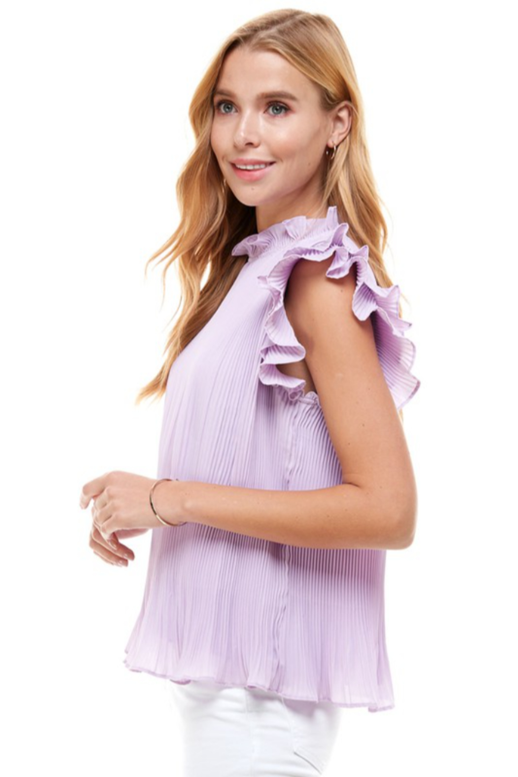 TCEC Pleated Ruffle Top - Front Full Image
