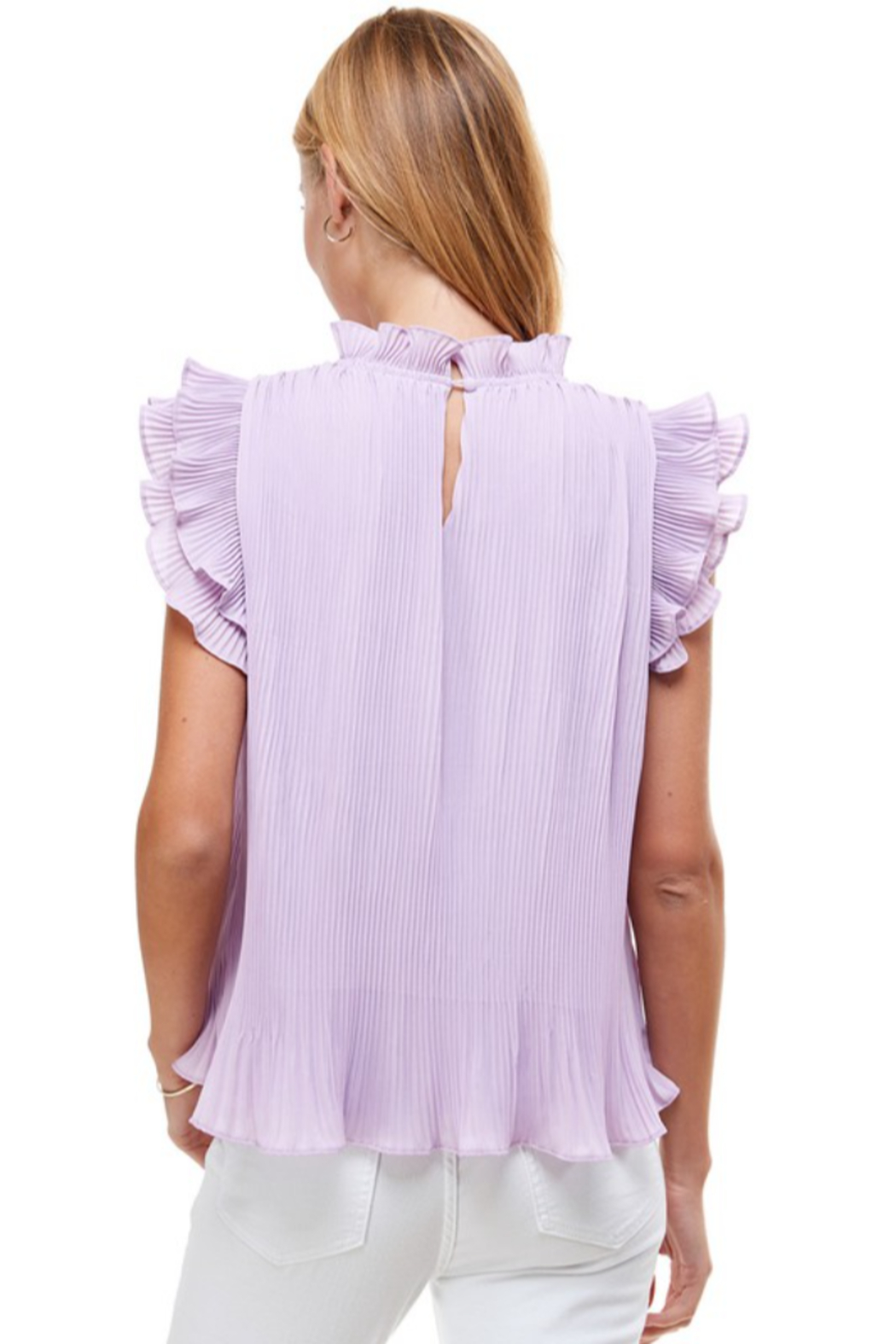 TCEC Pleated Ruffle Top - Side Cropped Image