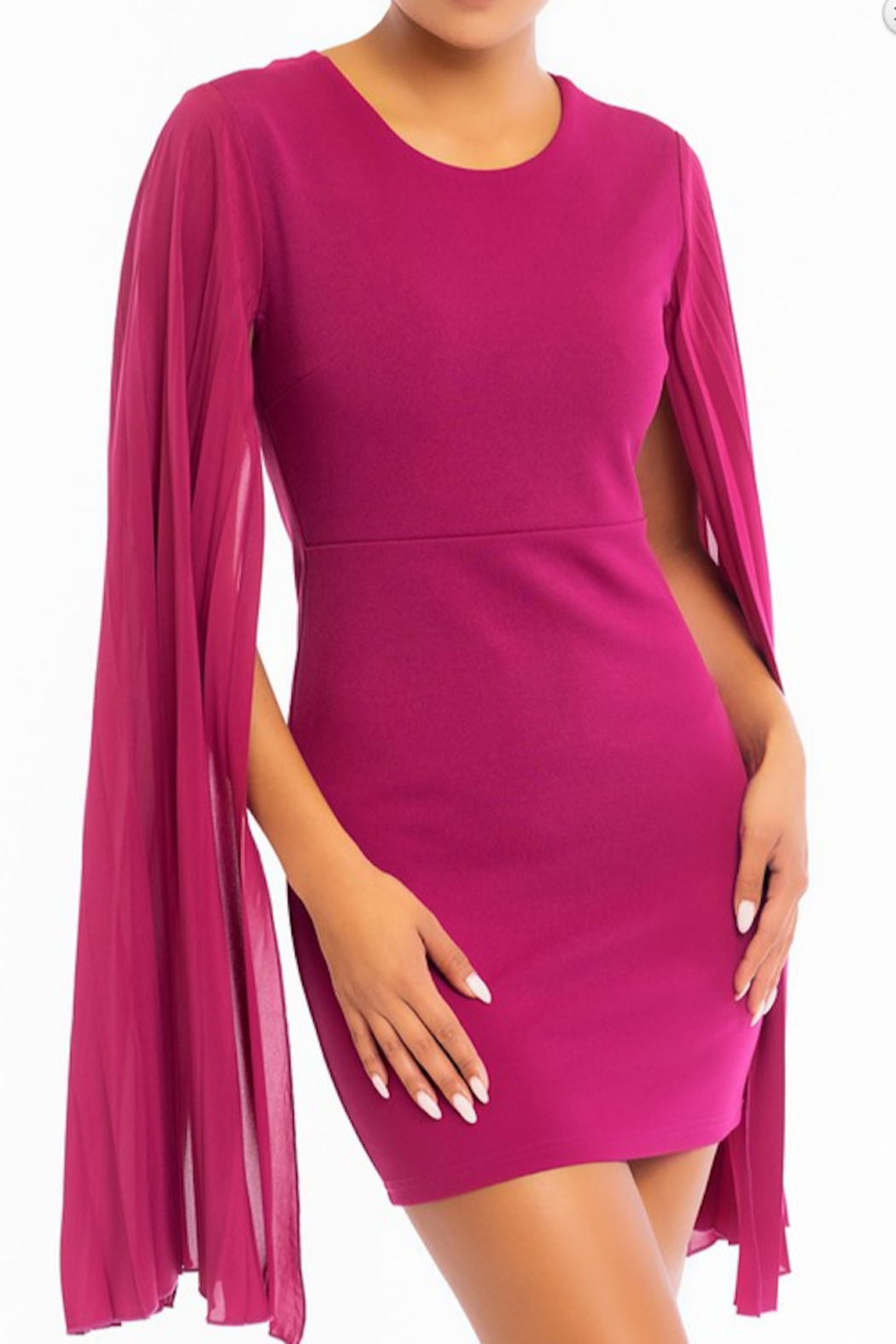 luxxel Pleated Sleeve Bodycon Dress - Front Cropped Image