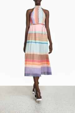 Zimmermann Pleated Striped Picnic Dress - Product List Image