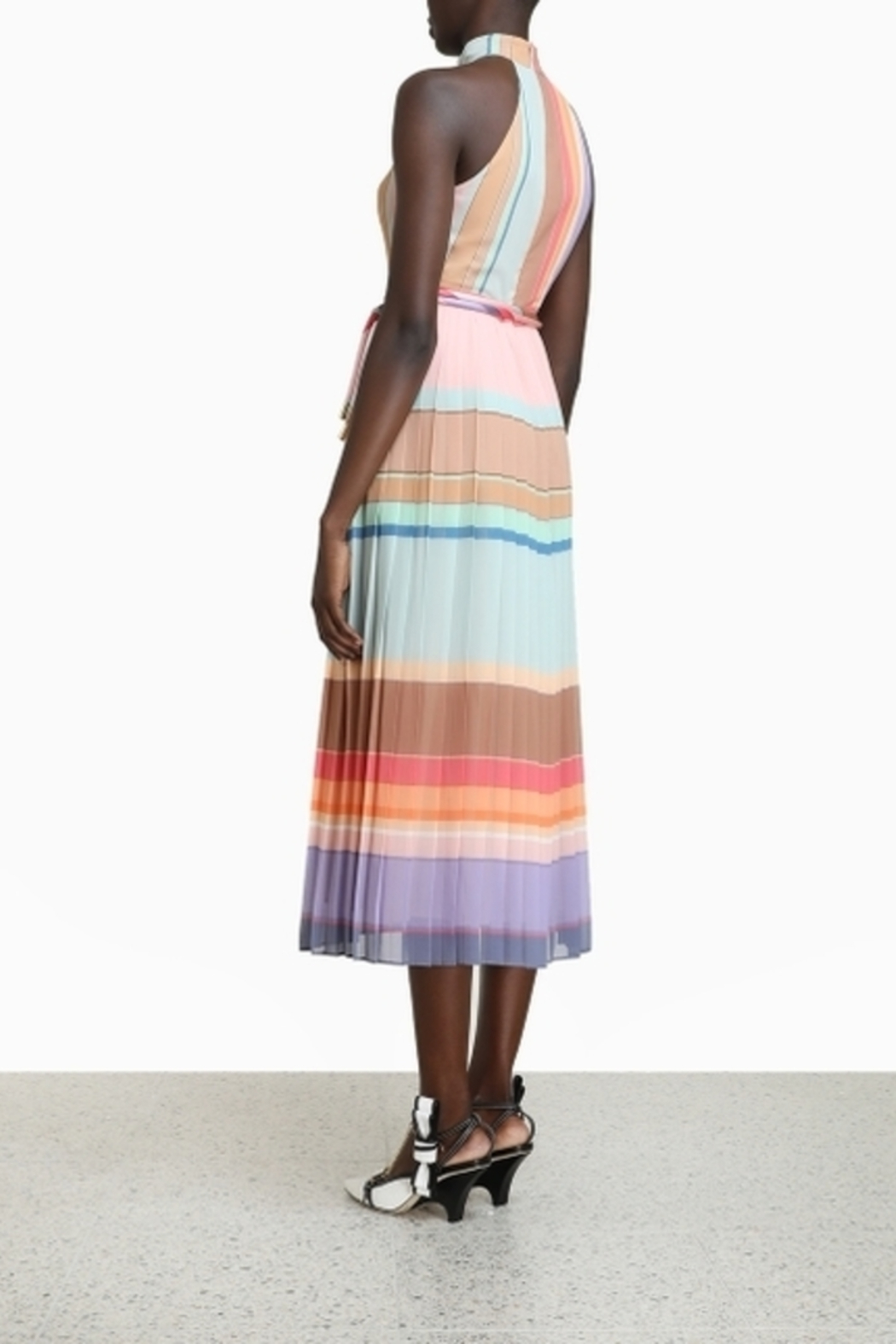 Zimmermann Pleated Striped Picnic Dress - Side Cropped Image