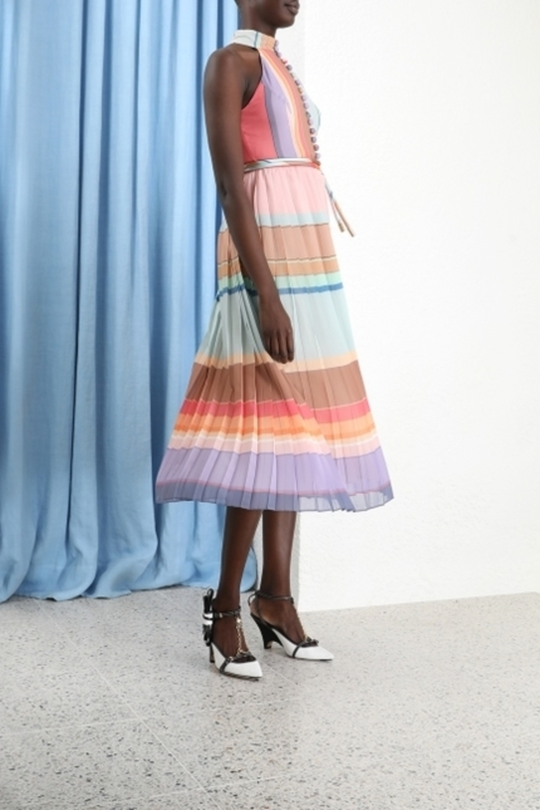 Zimmermann Pleated Striped Picnic Dress - Front Full Image
