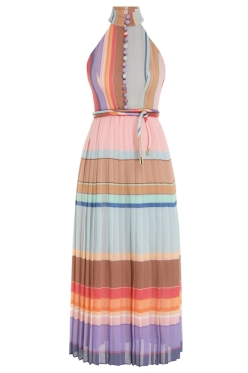 Zimmermann Pleated Striped Picnic Dress - Back Cropped Image