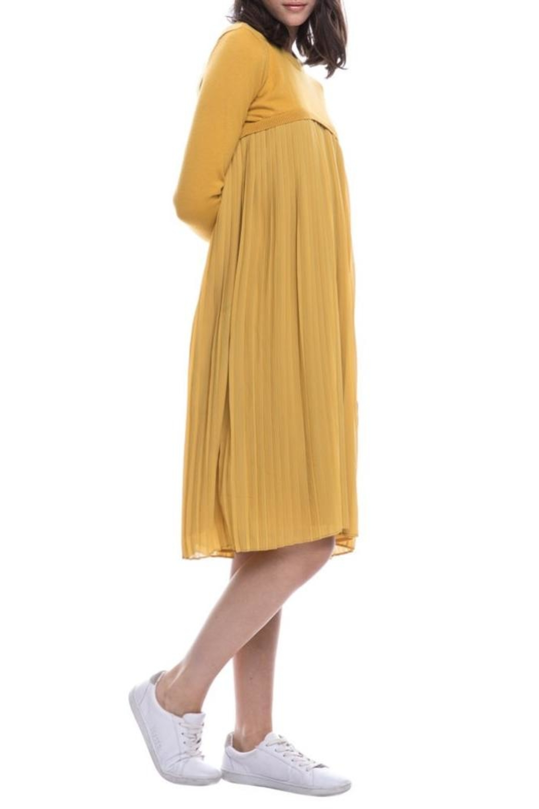 English Factory Pleated Sweater Dress - Front Full Image