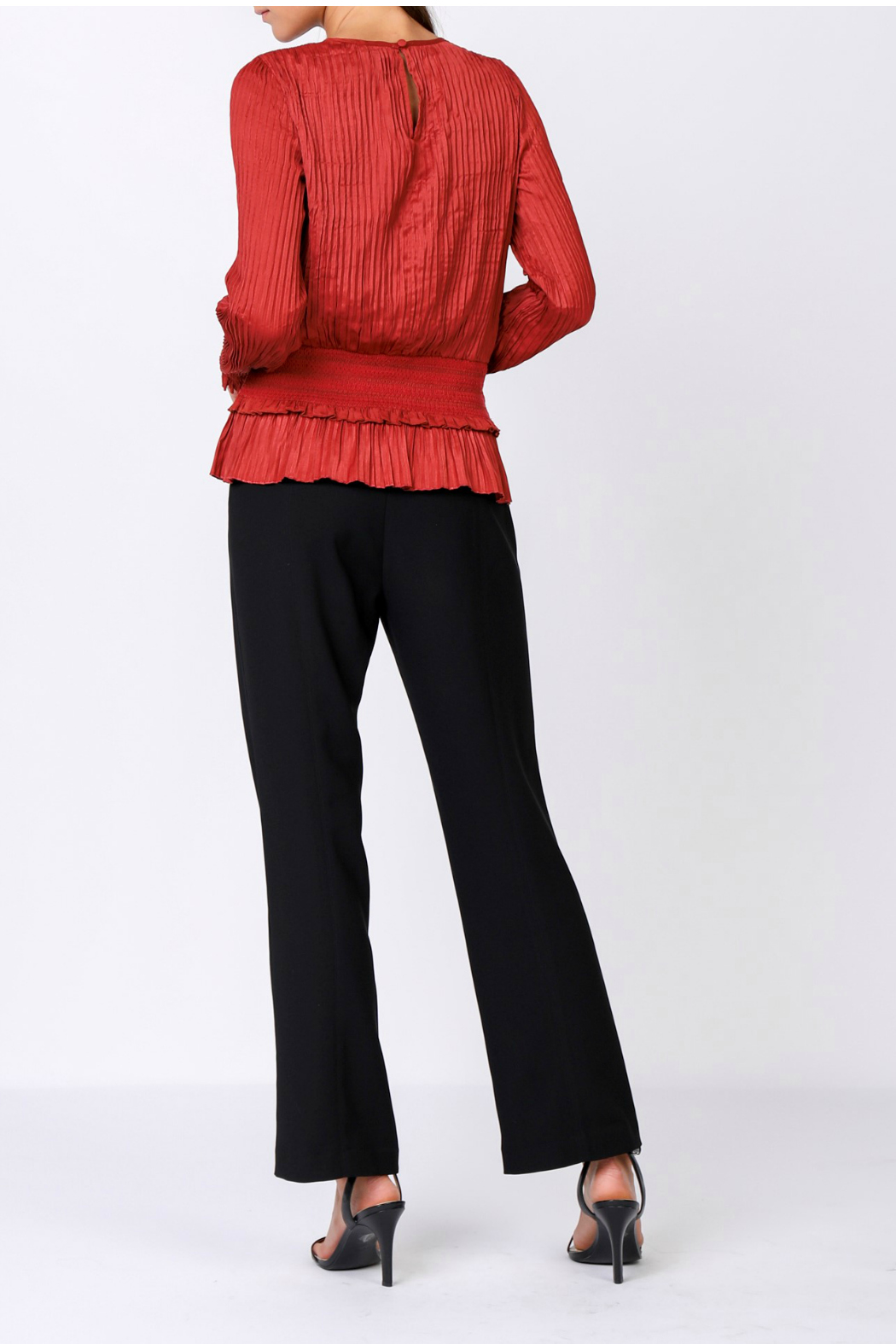 Current Air Pleated top with smocked waist - Front Full Image