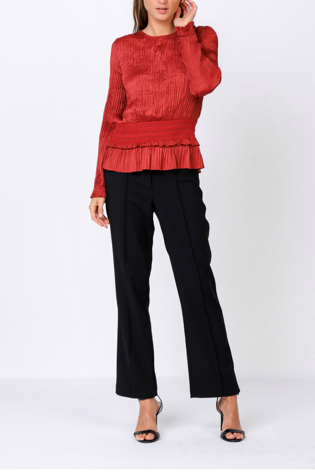 Current Air Pleated top with smocked waist - Front Cropped Image