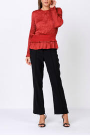 Current Air Pleated top with smocked waist - Front cropped