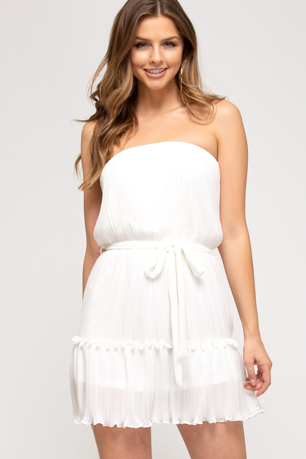 She and Sky Pleated Tube Top Dress - Front Cropped Image