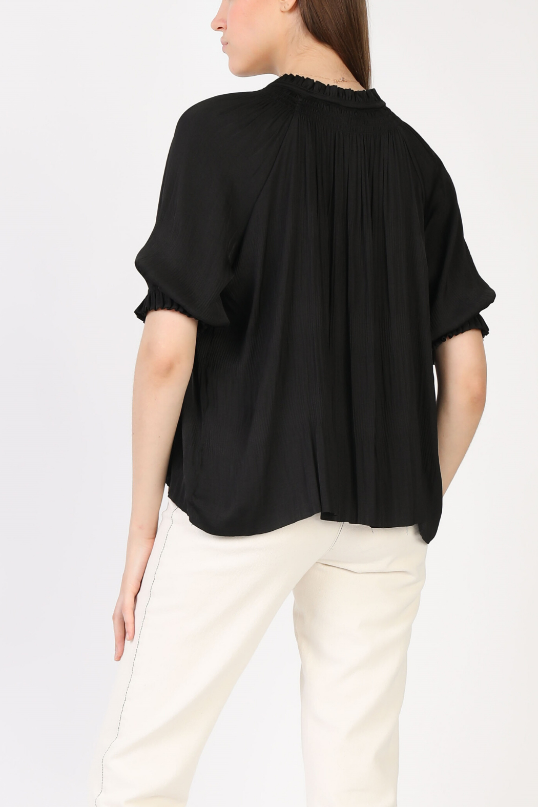 Current Air Pleated V Neck 1/2 Slv Blouse - Front Full Image