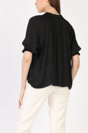 Current Air Pleated V Neck 1/2 Slv Blouse - Front full body
