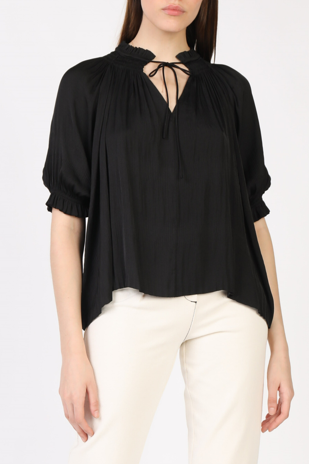 Current Air Pleated V Neck 1/2 Slv Blouse - Main Image