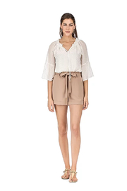 Jade Pleated Waist Shorts - Front cropped