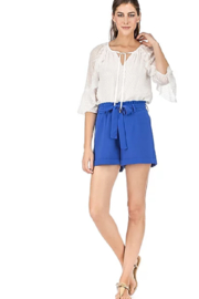 Jade Pleated Waist Shorts - Front full body