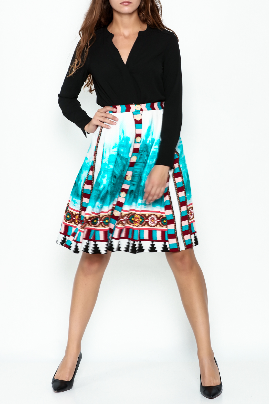 Plenty by Tracy Reese A Line Button Skirt - Side Cropped Image