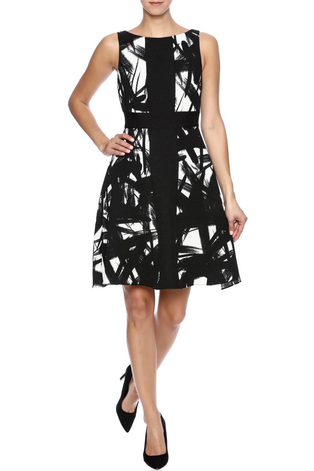Black dress with white lines by tracy