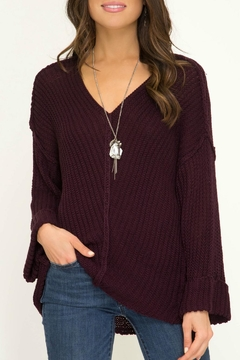 Shoptiques Product: Plum Bell-Sleeve Sweater