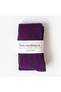 Little Stocking Co Plum Cable Knit Tights - Alternate List Image