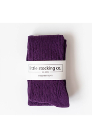 Little Stocking Co Plum Cable Knit Tights - Product Mini Image