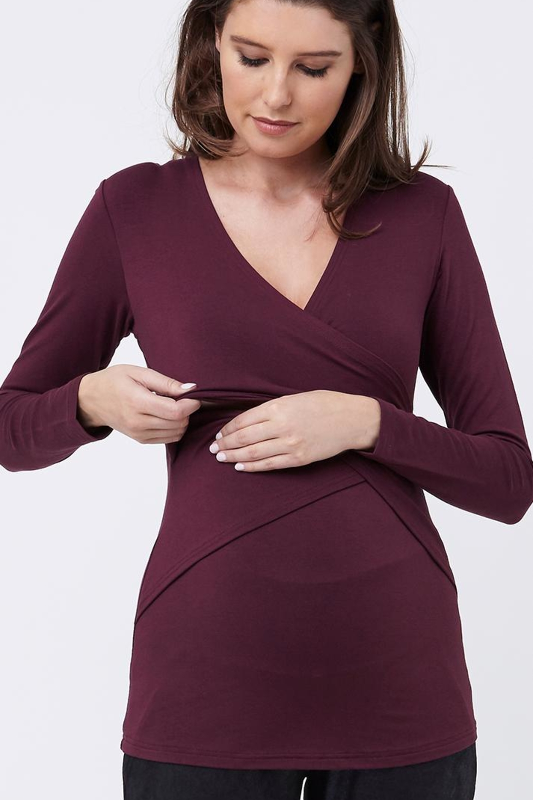 Ripe Maternity Plum Embrace Top - Front Cropped Image