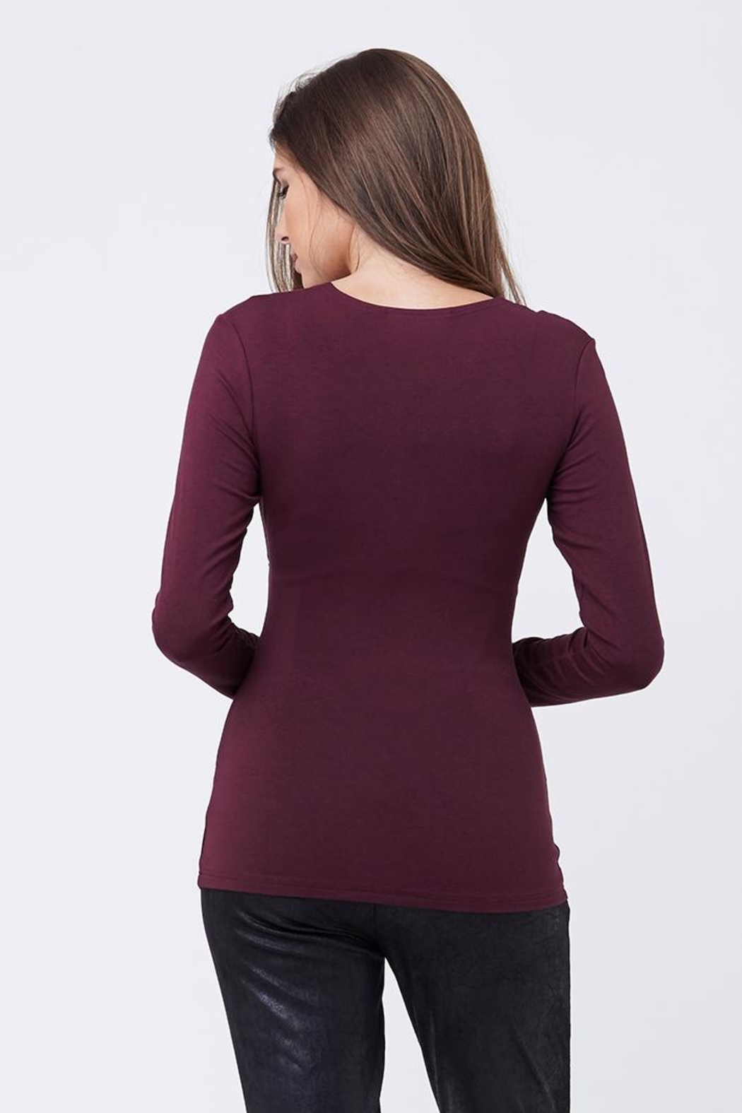 Ripe Maternity Embrace Top - Plum - Back Cropped Image