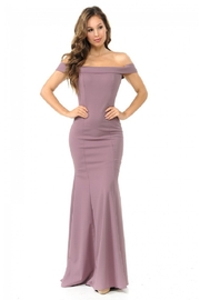 Lenovia  Plum Off Shoulder Fit & Flare Long Formal Dress - Product Mini Image