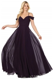 DANCING QUEEN Plum Off Shoulder Long Formal Dress - Product Mini Image