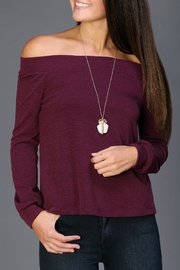 Everly Plum Off-The-Shoulder Sweater - Product Mini Image