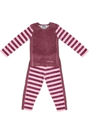 Pounds and Ounces Plum/pink Striped Pyjama - Front cropped