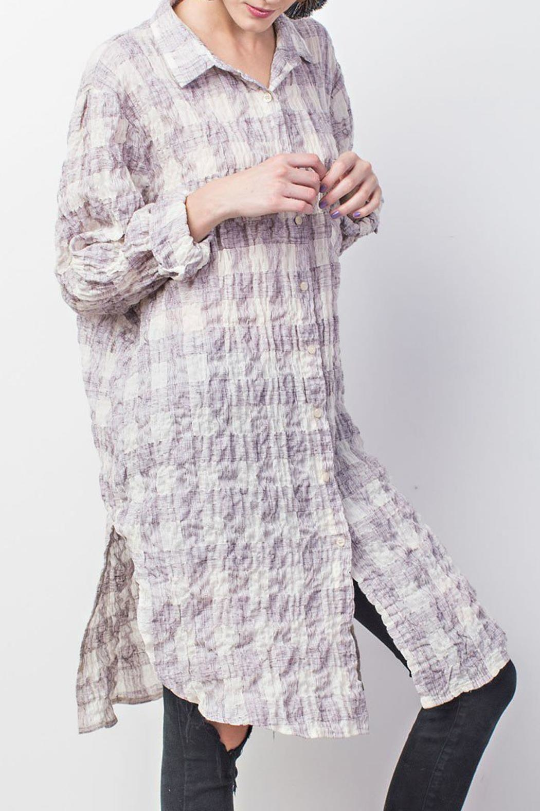 easel Plum-Plaid Cotton Tunic - Main Image